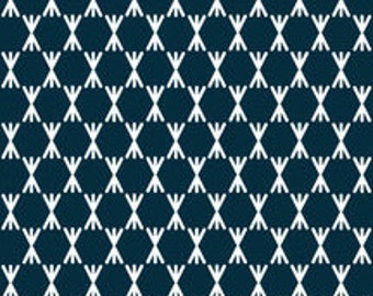 Organic cotton fabric. Foxglove Navy, Stem Dot. Quilters weight. Cloud9 fabric. Various cuts available. Navy X and O