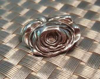 Vintage Delicate Silver Pin of a Rose