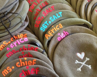 beret military vintage original hand-cut letters customised words hat felt