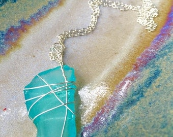 Silver Seaglass Ocean Wire Wrapped Necklace