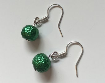 Handmade Textured Green Beaded Earrings