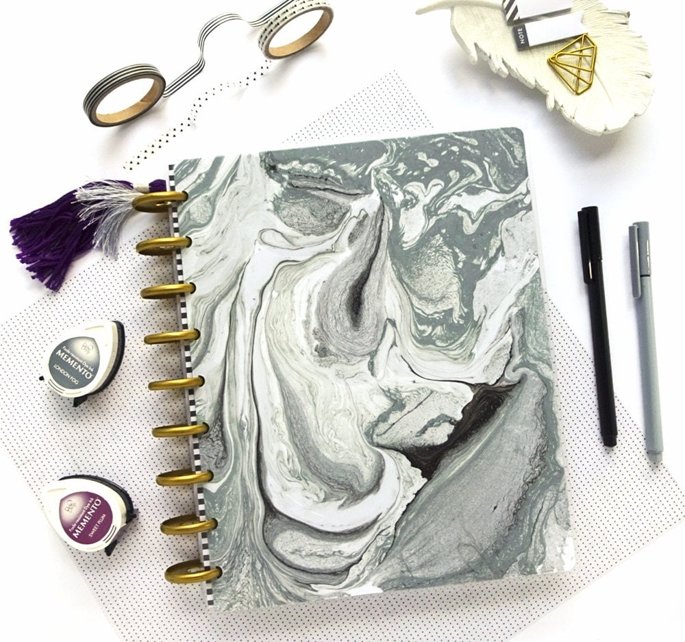 Mambi happy planner cover marble planner dashboard for Happy planner accessories