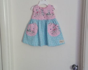 Baby Girl Sweet Playmates Dress, size 6 mo.