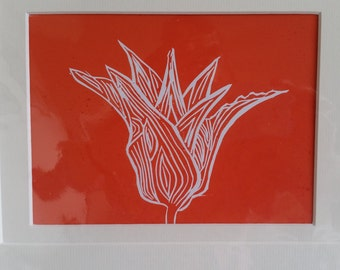Original Linocut Print of a Tulip