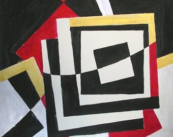 """Geometric Abstraction 18x18 Black White and Red Titled: """"Boxed Into the Horizon"""" Uses Reverse Negative Spaces Unframed Midcentury Art Modern"""