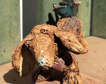 Dog Sculpture, Dog Ceramic Animal, Dachshund Dog Figure, Ceramic Dog Art