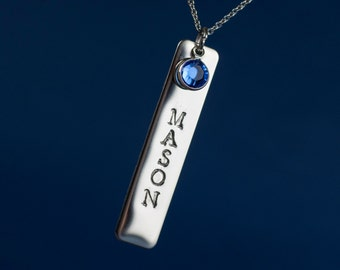 Birthstone Necklace Name Pendant and Chain (Stainless)