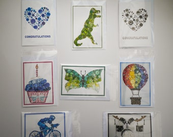 6 pack of A6 Greetings Card, Print of original button and crystal artwork - Blank inside