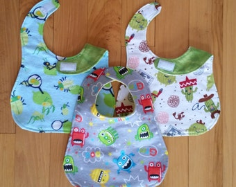 CLEARANCE! Baby Bibs SET OF 3 100% Cotton Flannel with Velcro Closure