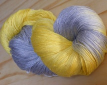 Silk lace weight yarn - pearl grey / yellow - hand dyed by Rouge Bobine