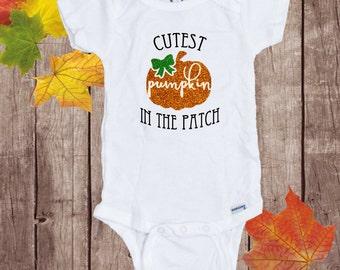 Cutest Pumpkin in the Patch, Pumpkin Shirt, Halloween Shirt, Pumpkin Baby Outfit, Pumpkin Romper, Halloween Romper, Halloween Baby Outfit
