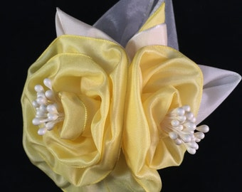 Yellow and Cream Ribbon Rose Corsage or Hair Accessory