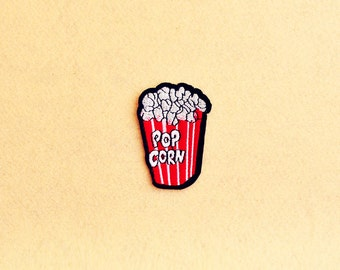POP CORN Patch - Emoji Embroidered - Iron On Patch - Embroidered Patch (Size : 4.4cm x 6.4cm)HH