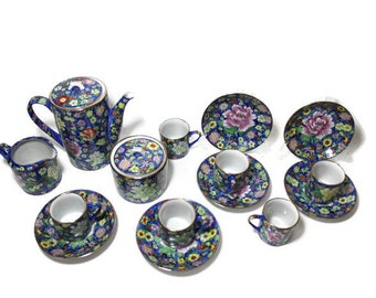 15 piece Dematasse Tea Set by Hand-Painted Decoration,  Tea Pot,  Creamer, Sugar,  6 Cups and Saucers