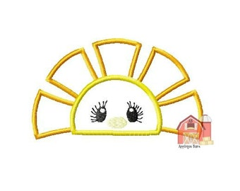 Half Sun Applique design, Peeking sun applique