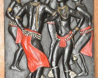 """Vintage African Art by Afram House Inc 1969 Vintage Tribal Art 3D Wall Plaque 20"""" by 14"""" wall Art"""