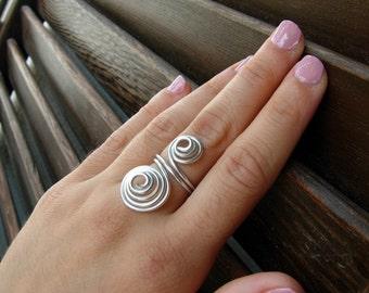 spiral ring, silver ring, silver wrap ring, silver spiral ring, wire ring, wire wrapped ring, wire ring, silver jewelry, wire jewelry