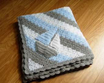 crochet baby blanket, baby boy blanket, crochet baby afghan, summer baby shower gift, newborn boy gift, baby boy bedding, sail boat blanket