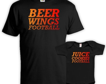Matching Father And Baby Father Son Matching Shirts Father Daughter Gift Beer Wings Football Juice Cookies Football Bodysuit FAT-01-02
