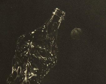 Bottle - Original Mezzotint print