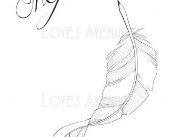 Inspire feather illustration A4 print