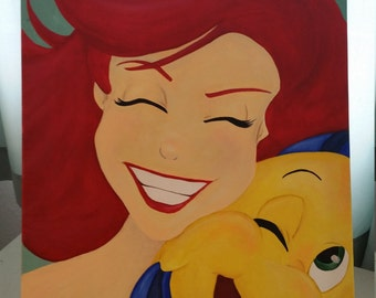 Ariel and Flounder Painting