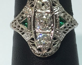 Antique Art Deco 18k White Gold Diamond and Emerald Ring