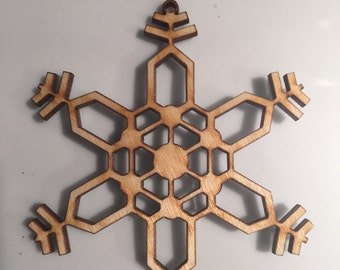 Laser cut wood snowflake ornament (Set of 5)