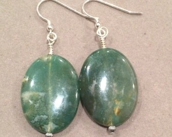 Moss Agate Sterling Silver Earrings