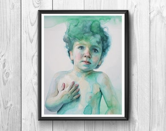 Child painting with watercolors in shades of green