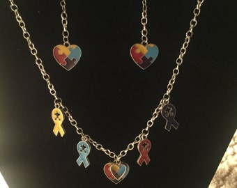Autism Awareness Charm Necklace and Bracelet