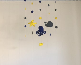 Felt under the sea baby mobile (octopus fish starfish) for nursery