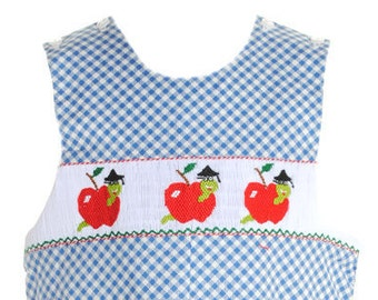 Smocked Apple Longall Blue Check