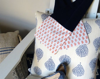 Navy Block Print Cotton & Jersey Scarf
