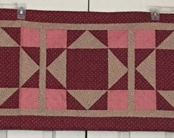"""Quilted Burgundy & Tan Table Runner - 42"""" x 17"""""""