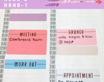 Solid Color Block Hourly Planner Sticker Boxes  [ASSORTED] for Passion Planner