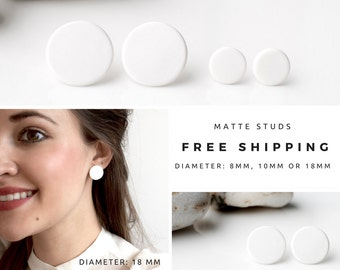 White studs, matte white earrings, small round earrings, matte white studs, disk earrings, white stud earrings, ball earrings, posts studs