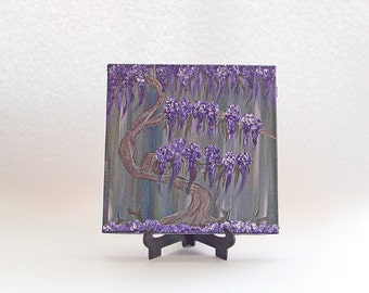Original painting, Small painting, Home decor, Abstract purple tree, Miniature painting,  Original acrylic, Gift, for him, For her