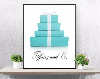 Tiffany and Co Print Tiffany Wall Art Tiffany and Co Poster Printable Fashion Print Digital Download Tiffany Blue Box