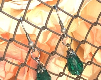 Green Crystal Teardrop Earrings with Antique Silver - Fall Bridesmaids Sets