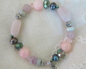 Handmade gemstone bracelet with aquamarine, rose quartz, agate, Swarovski crystal, freshwater pearls