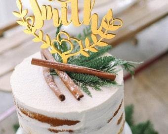 Wedding Cake Topper Custom surname Personalized Surname Wood Gold Cake Topper Rustic Wedding Cake Topper Boho Cake Topper