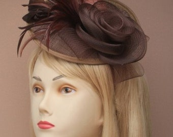 Brown large net and hessian hat with a rose and feathers on a narrow alice band. Church Hat, Wedding Hat, Ladies Hat, Races Hat,