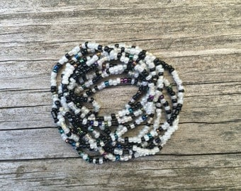 Long Seed Bead Layering Necklace - Black and White