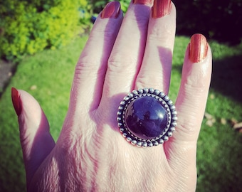 Large Amethyst and Sterling Silver Vintage Style Ring