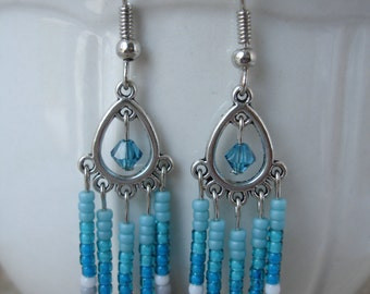 Teal Waterfall Earrings