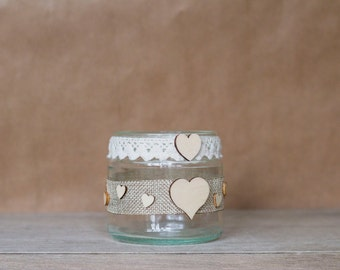 Rustic Heart Jar - Small