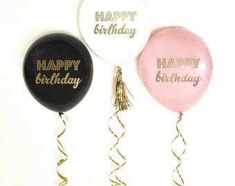 Happy Birthday Balloons-set of 3- birthday balloons, black birthday balloons, pink and gold birthday balloons, birthday decorations