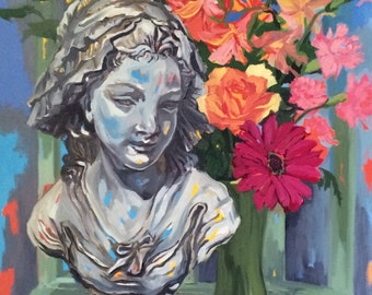Original Oil Painting Still Life of Bust of Girl with Floral Bouquet
