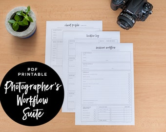 Photographer's Workflow Suite - Session Workflow, Client Profile and Location Log, PDF Printable, Photographer Planner